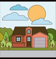 colorful natural landscape with country house with vector image vector image