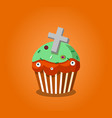 cute happy halloween cupcake with grave cross and vector image vector image