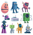 cute robots colorful futuristic robotic computer vector image
