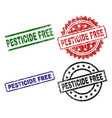 damaged textured pesticide free stamp seals vector image vector image