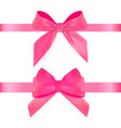 decorative pink bow with ribbon isolated on white vector image vector image