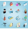 Education set icons isometric 3d style vector image vector image