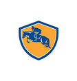 Equestrian Show Jumping Side Shield Retro vector image vector image
