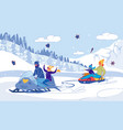 family snowmobile tubing race and fun on slopes vector image vector image