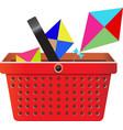flying object in shop basket-08 vector image vector image
