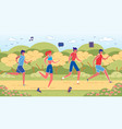 four young people taking morning jog in local park vector image