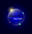 glass button on blue background vector image
