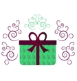 Green gift with ribbon vector image vector image