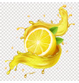 half a lemon slice in realistic juice splash vector image vector image