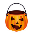 halloween pumpkin shape basket vector image