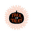 halloween retro emblem with quote trick or treat vector image