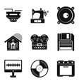 home wifi icons set simple style vector image vector image