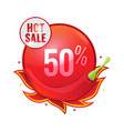 hot sale concept with red pepper and flame vector image vector image