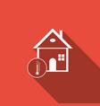house temperature icon isolated with long shadow vector image