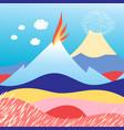 island in sea with volcano vector image