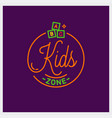 kids zone logo round linear toys vector image