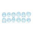 line icon set people female characters vector image