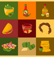 mexican traditional food cards with meat avocado vector image vector image