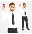 modern hipster businessman with credit card vector image vector image