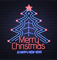 neon sign merry christmas and happy new year vector image vector image