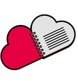 notebook with heart love shape vector image