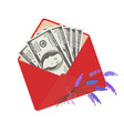 one hundred dollar banknotes in open red envelope vector image vector image