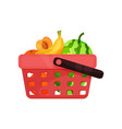 plastic shopping basket with sweet fruits fresh vector image vector image