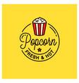 popcorn logo round linear logo popcorn bucket vector image