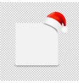 santa claus cap with paper banner transparent vector image vector image