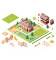 set isolated playground equipmentskindergarten vector image vector image