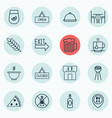 set of 16 meal icons includes doorway closed vector image vector image