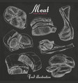set of hand drawn meat isolated on black vector image