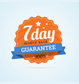 Seven day guarantee money back badge vector image vector image