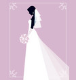 silhouette of a bride on a pink background vector image vector image