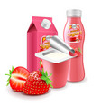 strawberry yogurt packagings 3d photo realistic vector image vector image