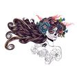 Sugar Skull Girl in Flower Crown10 vector image vector image