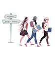 three teenage girls going back to school vector image