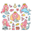 under the sea set of cartoon stickers patches vector image