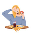 woman in restaurant enjoys donut drinks cola soda vector image