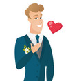 young caucasian groom holding hand on his chest vector image vector image