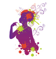 Female silhouette with swirls vector image