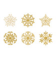 a golden snowflakes set elegant christmas snow vector image vector image