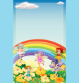 background scene with fairies flying over rainbow vector image vector image
