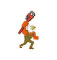 Bald Eagle Plumber Monkey Wrench Cartoon vector image vector image