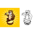 Beaver with a toothbrush vector image vector image