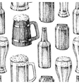 Beer seamless pattern Beer glass mug vector image