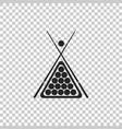 Billiard cue and balls in a rack triangle icon