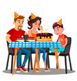 birthday of child family sitting at the party vector image vector image