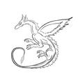 Black dragon over white vector image vector image