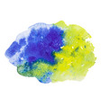 blue and yellow watercolor splash stain vector image vector image